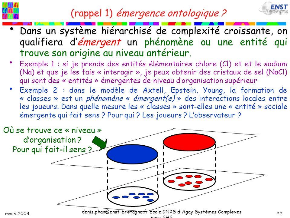 mars 2004 denis.phan@enst-bretagne.fr Ecole CNRS d Agay Systèmes Complexes pour SHS 22 (rappel 1) émergence ontologique .