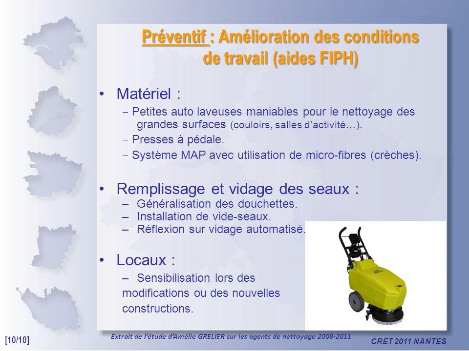 CRET 2011 NANTES Préventif : Amélioration des conditions de travail (aides FIPH) Matériel : Petites auto laveuses maniables pour le nettoyage des grandes surfaces (couloirs, salles dactivité…).