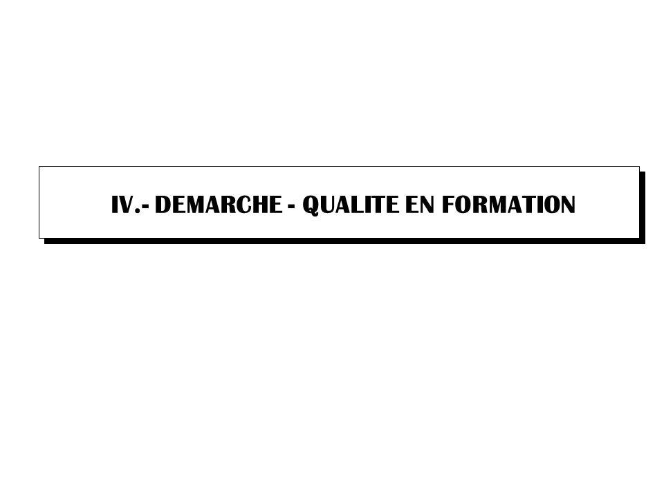 IV.- DEMARCHE - QUALITE EN FORMATION