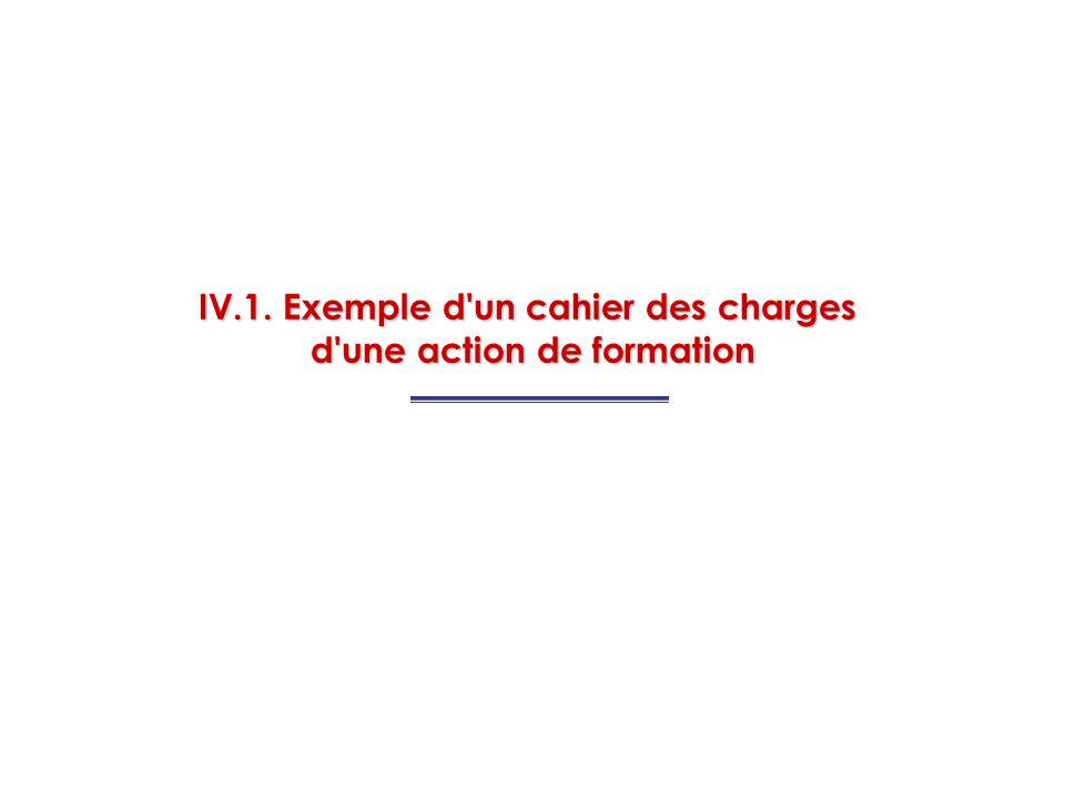 IV.1. Exemple d'un cahier des charges d'une action de formation