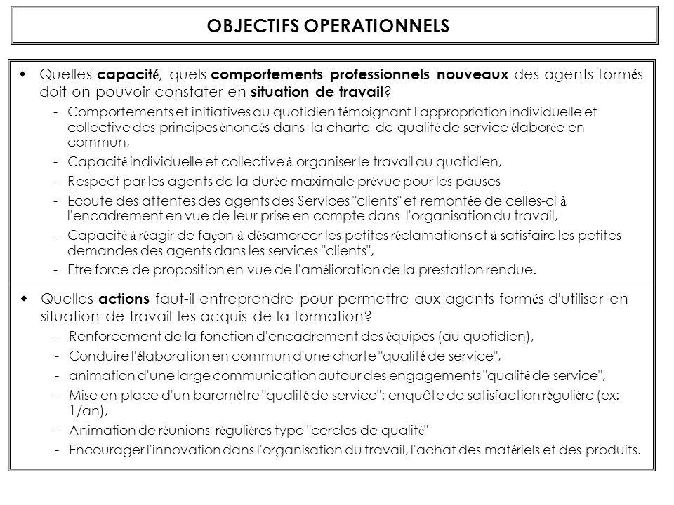 OBJECTIFS DE FONCTIONNEMENT Quelles sont les effets attendus de la formation sur le f onctionnement, l efficacit é du service .