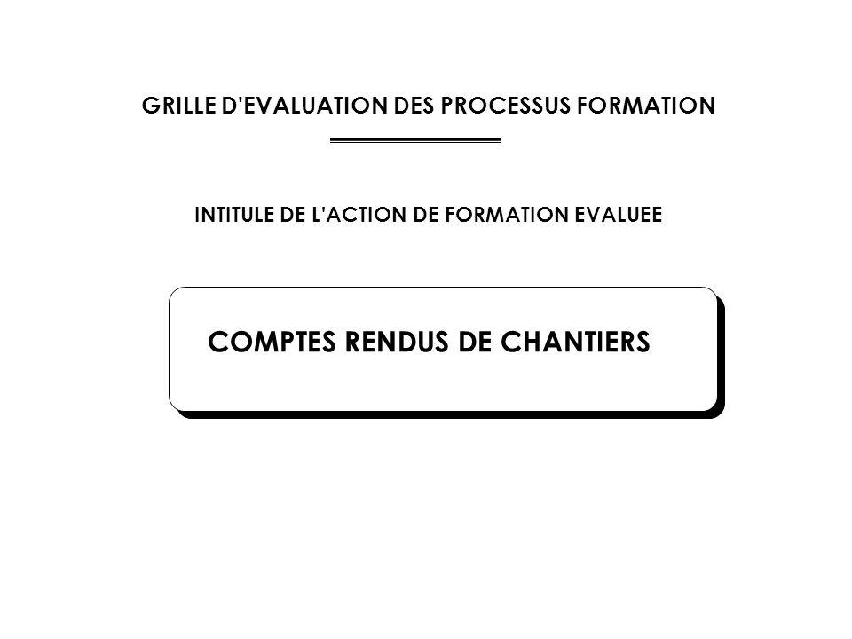 GRILLE D'EVALUATION DES PROCESSUS FORMATION INTITULE DE L'ACTION DE FORMATION EVALUEE COMPTES RENDUS DE CHANTIERS