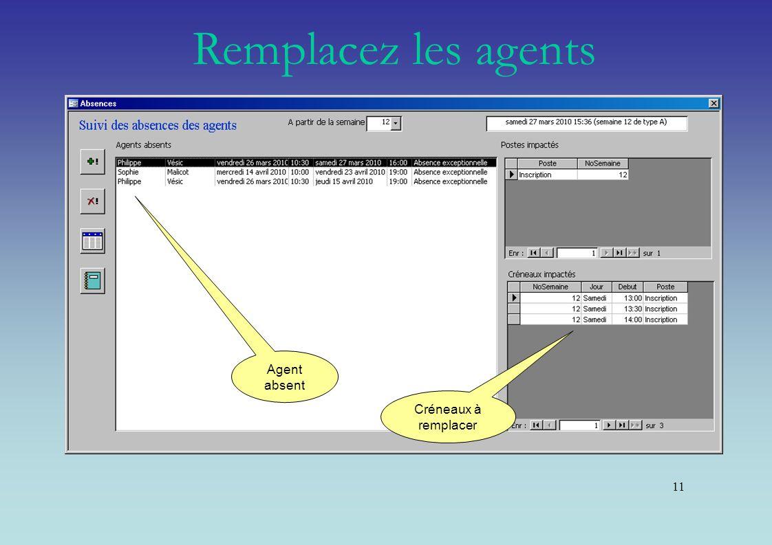 11 Agent absent Créneaux à remplacer Remplacez les agents