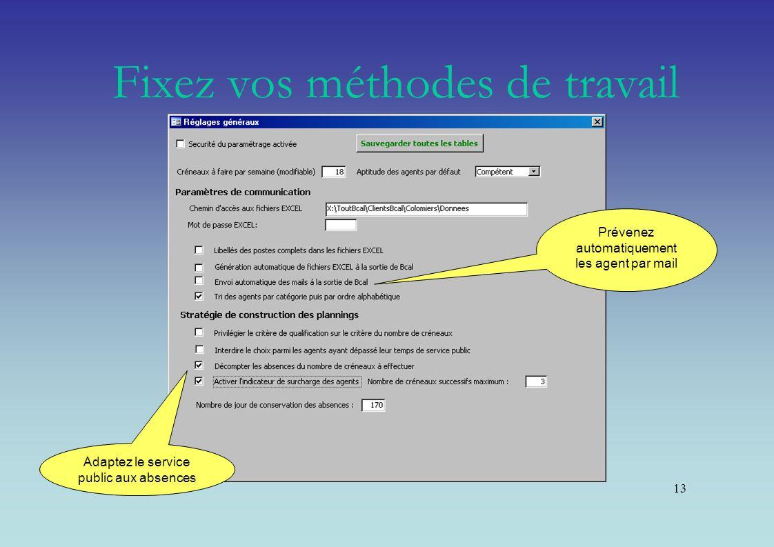 13 Prévenez automatiquement les agent par mail Adaptez le service public aux absences Fixez vos méthodes de travail