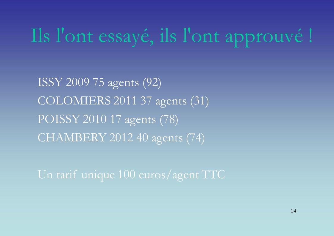 14 Ils l'ont essayé, ils l'ont approuvé ! ISSY 2009 75 agents (92) COLOMIERS 2011 37 agents (31) POISSY 2010 17 agents (78) CHAMBERY 2012 40 agents (7