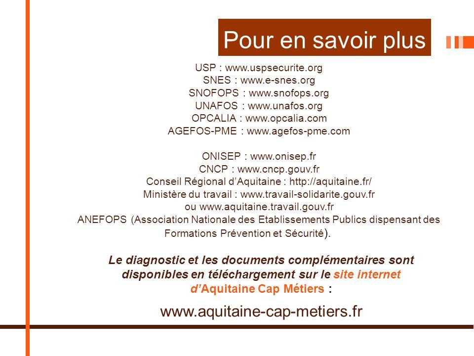 Pour en savoir plus USP : www.uspsecurite.org SNES : www.e-snes.org SNOFOPS : www.snofops.org UNAFOS : www.unafos.org OPCALIA : www.opcalia.com AGEFOS-PME : www.agefos-pme.com ONISEP : www.onisep.fr CNCP : www.cncp.gouv.fr Conseil Régional dAquitaine : http://aquitaine.fr/ Ministère du travail : www.travail-solidarite.gouv.fr ou www.aquitaine.travail.gouv.fr ANEFOPS (Association Nationale des Etablissements Publics dispensant des Formations Prévention et Sécurité ).