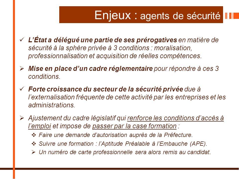 Enjeux : agents de sécurité LÉtat a délégué une partie de ses prérogatives en matière de sécurité à la sphère privée à 3 conditions : moralisation, professionnalisation et acquisition de réelles compétences.