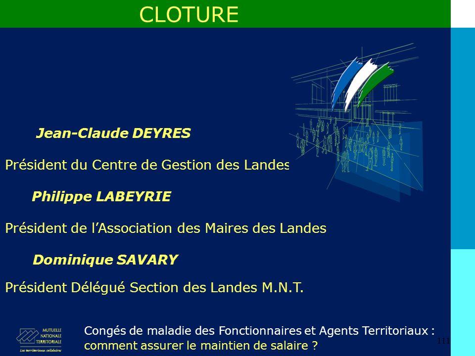 111 Jean-Claude DEYRES CLOTURE Congés de maladie des Fonctionnaires et Agents Territoriaux : comment assurer le maintien de salaire .