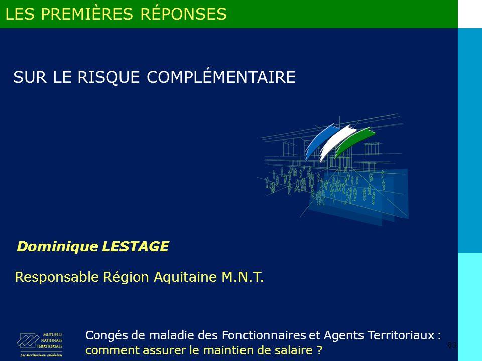 93 Dominique LESTAGE Congés de maladie des Fonctionnaires et Agents Territoriaux : comment assurer le maintien de salaire .