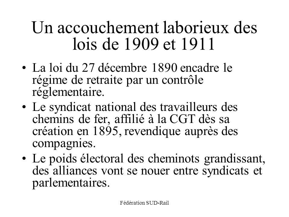 Fédération SUD-Rail Un accouchement laborieux des lois de 1909 et 1911 La loi du 27 décembre 1890 encadre le régime de retraite par un contrôle réglementaire.