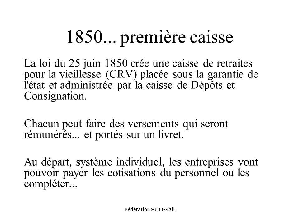 Fédération SUD-Rail 1850... première caisse La loi du 25 juin 1850 crée une caisse de retraites pour la vieillesse (CRV) placée sous la garantie de l'