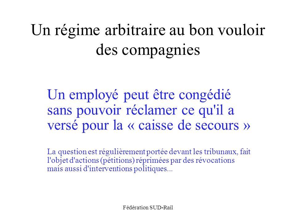 Fédération SUD-Rail Un régime arbitraire au bon vouloir des compagnies Un employé peut être congédié sans pouvoir réclamer ce qu'il a versé pour la «