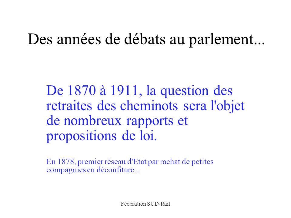 Fédération SUD-Rail Des années de débats au parlement... De 1870 à 1911, la question des retraites des cheminots sera l'objet de nombreux rapports et