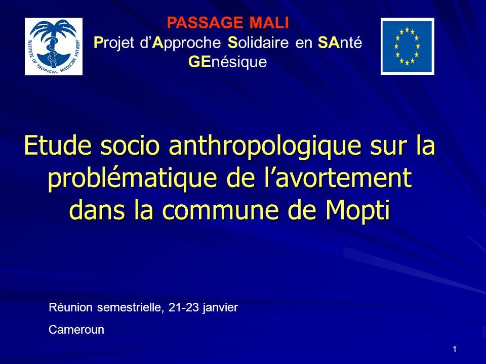 1 Etude socio anthropologique sur la problématique de lavortement dans la commune de Mopti PASSAGE MALI Projet dApproche Solidaire en SAnté GEnésique Réunion semestrielle, 21-23 janvier Cameroun