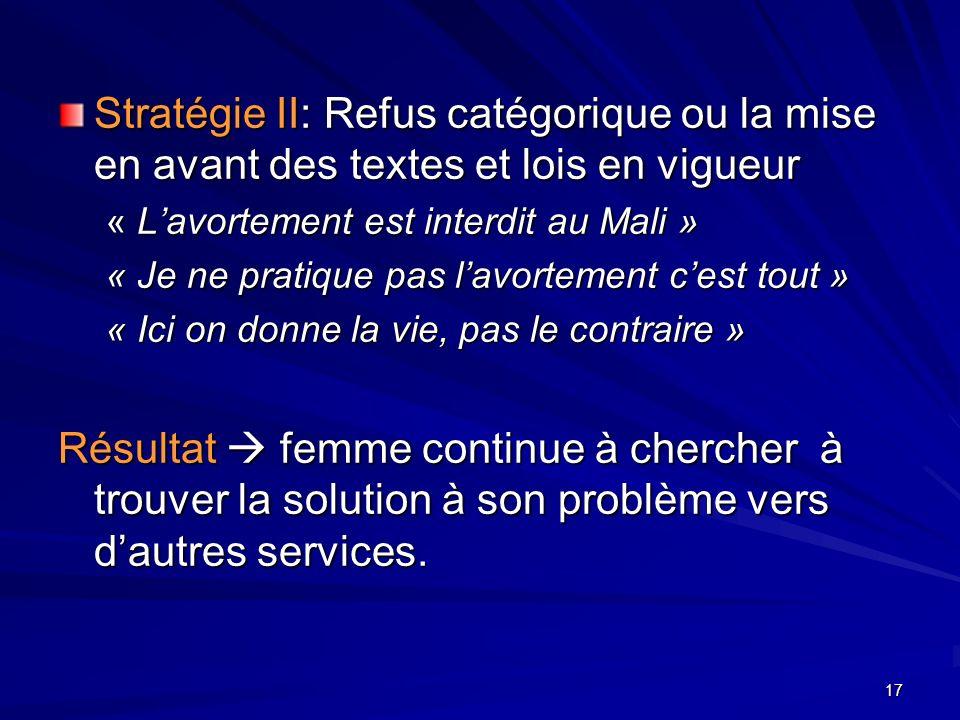 17 Stratégie II: Refus catégorique ou la mise en avant des textes et lois en vigueur « Lavortement est interdit au Mali » « Je ne pratique pas lavorte
