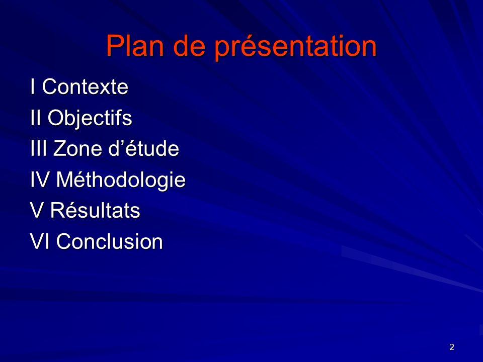 2 Plan de présentation I Contexte II Objectifs III Zone détude IV Méthodologie V Résultats VI Conclusion