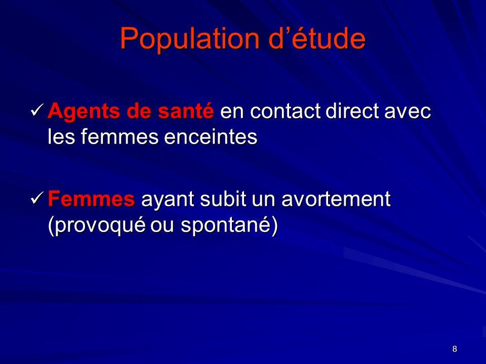 8 Population détude Agents de santé en contact direct avec les femmes enceintes Agents de santé en contact direct avec les femmes enceintes Femmes ayant subit un avortement (provoqué ou spontané) Femmes ayant subit un avortement (provoqué ou spontané)