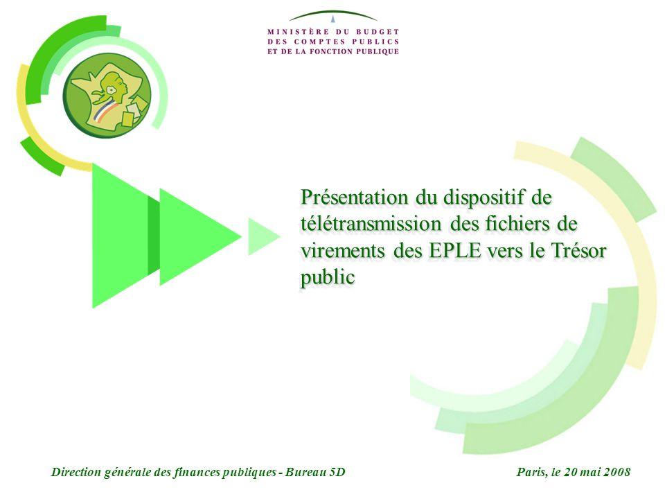 Présentation du dispositif de télétransmission des fichiers de virements des EPLE vers le Trésor public Direction générale des finances publiques - Bureau 5DParis, le 20 mai 2008