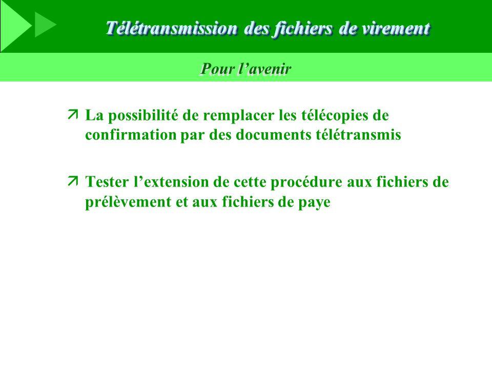 Pour lavenir äLa possibilité de remplacer les télécopies de confirmation par des documents télétransmis äTester lextension de cette procédure aux fichiers de prélèvement et aux fichiers de paye Télétransmission des fichiers de virement