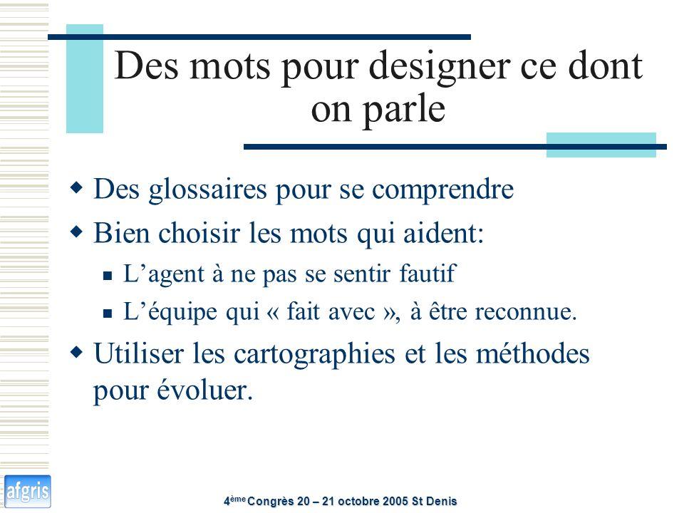 Des mots pour designer ce dont on parle 4 ème Congrès 20 – 21 octobre 2005 St Denis Des glossaires pour se comprendre Bien choisir les mots qui aident: Lagent à ne pas se sentir fautif Léquipe qui « fait avec », à être reconnue.