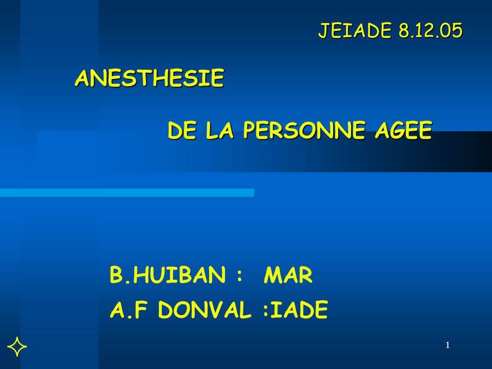 1 JEIADE 8.12.05 ANESTHESIE DE LA PERSONNE AGEE JEIADE 8.12.05 ANESTHESIE DE LA PERSONNE AGEE B.HUIBAN : MAR A.F DONVAL :IADE