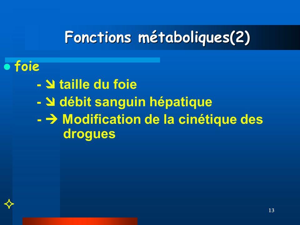 13 Fonctions métaboliques(2) Fonctions métaboliques(2) foie - taille du foie - débit sanguin hépatique - Modification de la cinétique des drogues