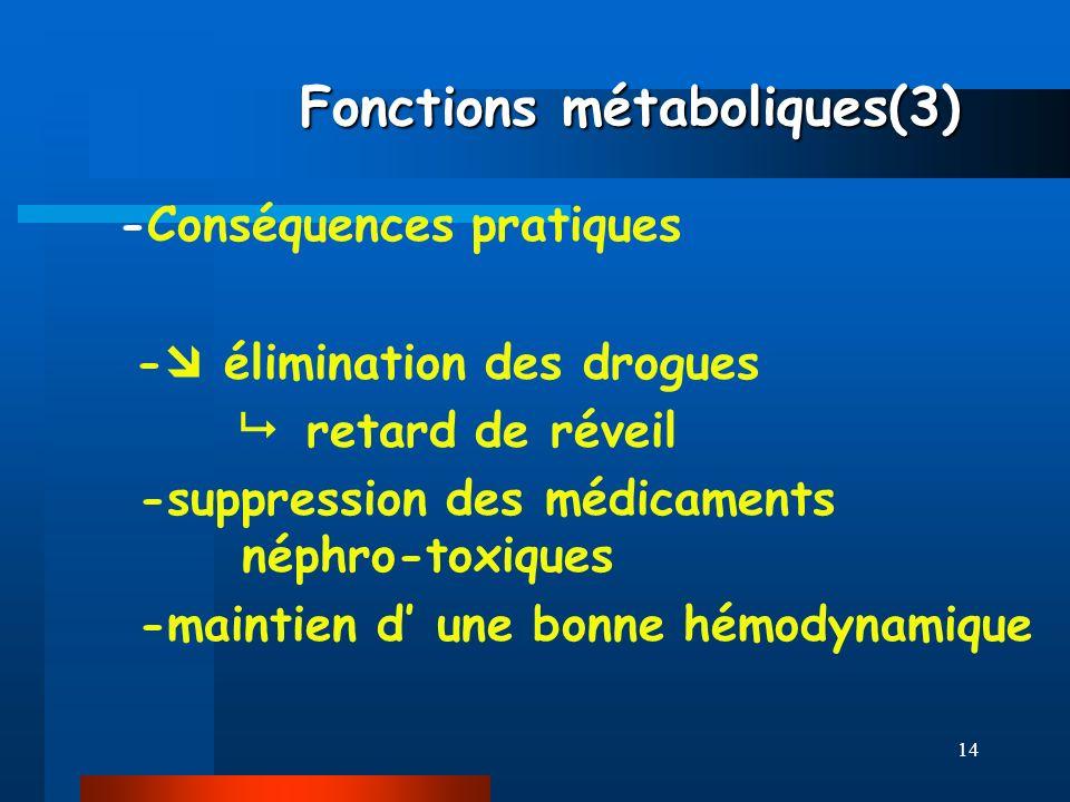 14 Fonctions métaboliques(3) Fonctions métaboliques(3) -Conséquences pratiques - élimination des drogues retard de réveil -suppression des médicaments