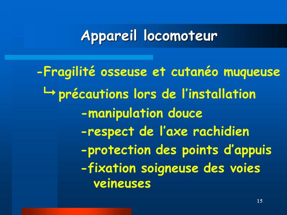 15 Appareil locomoteur Appareil locomoteur -Fragilité osseuse et cutanéo muqueuse précautions lors de linstallation -manipulation douce -respect de la