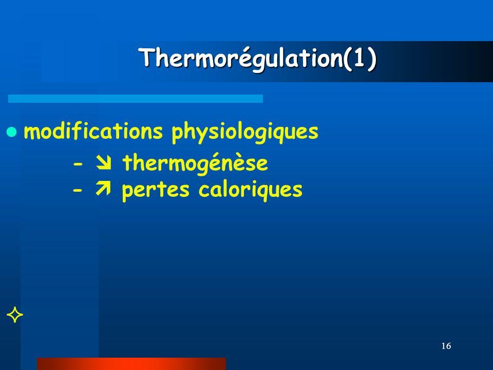 16 Thermorégulation(1) Thermorégulation(1) modifications physiologiques - thermogénèse - pertes caloriques