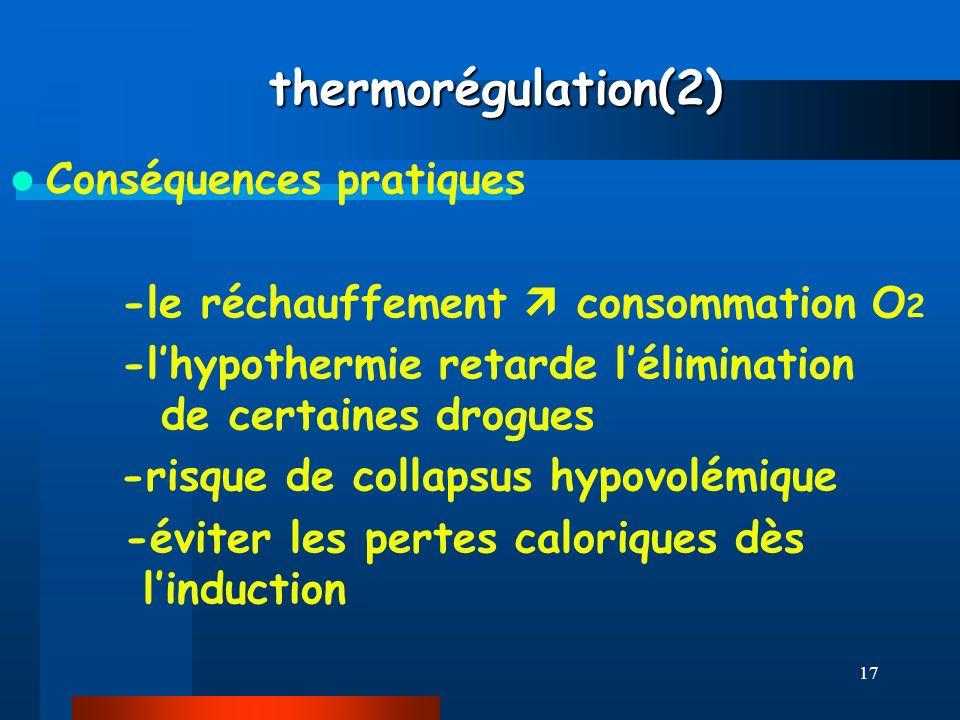 17 thermorégulation(2) thermorégulation(2) Conséquences pratiques -le réchauffement consommation O 2 -lhypothermie retarde lélimination de certaines d