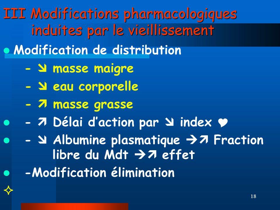 18 III Modifications pharmacologiques induites par le vieillissement Modification de distribution - masse maigre - eau corporelle - masse grasse - Dél