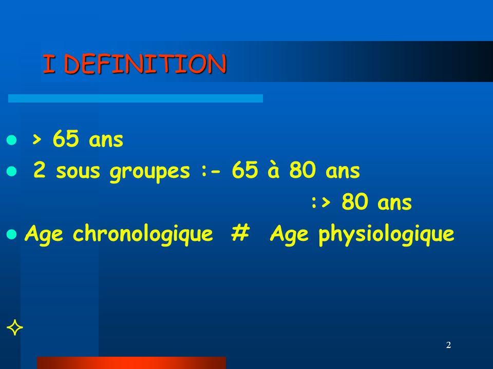 2 I DEFINITION > 65 ans 2 sous groupes :- 65 à 80 ans :> 80 ans Age chronologique # Age physiologique