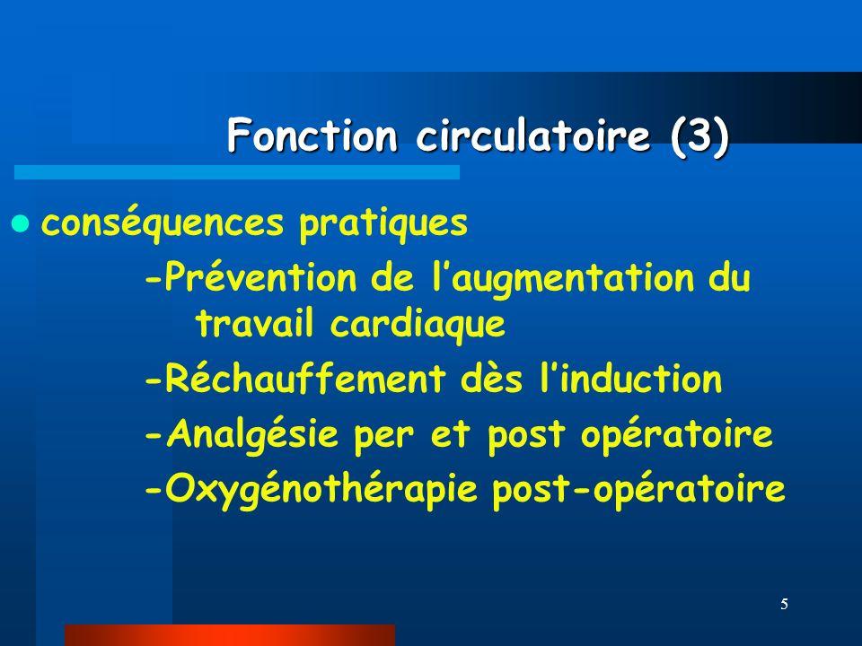 5 Fonction circulatoire (3) Fonction circulatoire (3) conséquences pratiques -Prévention de laugmentation du travail cardiaque -Réchauffement dès lind