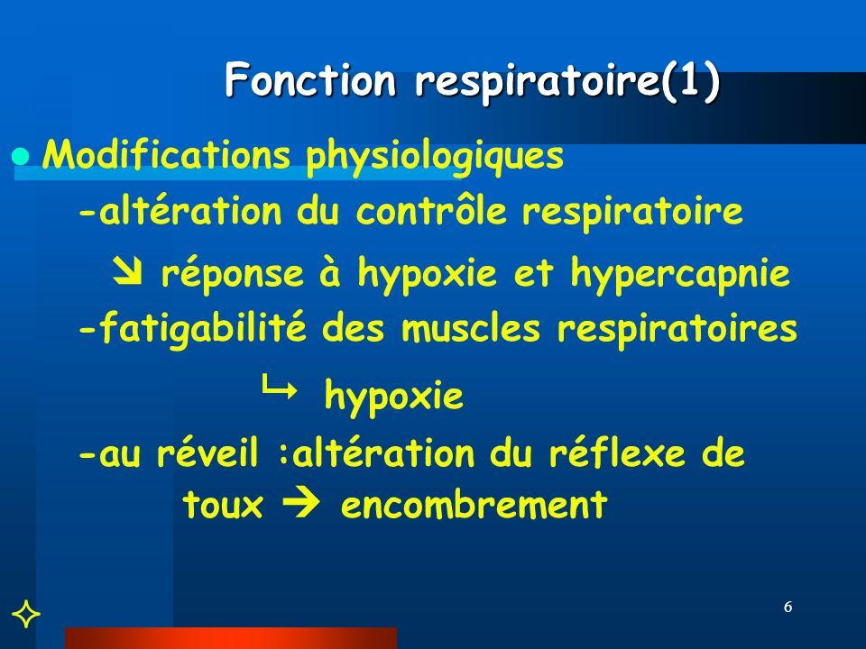 6 Fonction respiratoire(1) Fonction respiratoire(1) Modifications physiologiques -altération du contrôle respiratoire réponse à hypoxie et hypercapnie