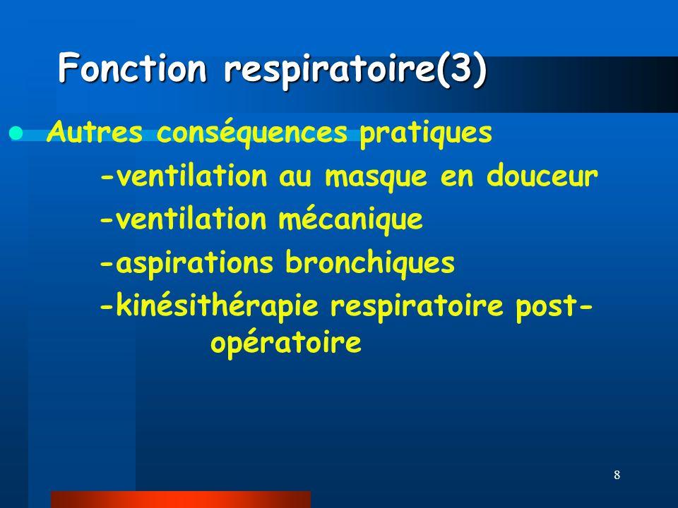 8 Fonction respiratoire(3) Autres conséquences pratiques -ventilation au masque en douceur -ventilation mécanique -aspirations bronchiques -kinésithér