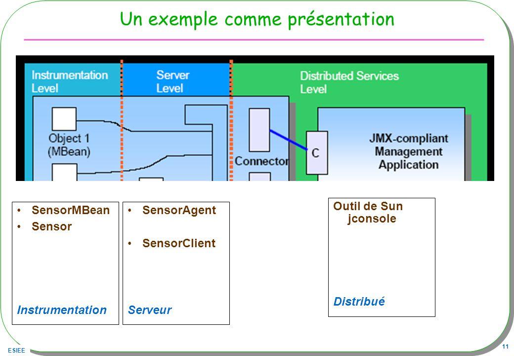 ESIEE 11 Un exemple comme présentation SensorMBean Sensor Instrumentation SensorAgent SensorClient Serveur Outil de Sun jconsole Distribué