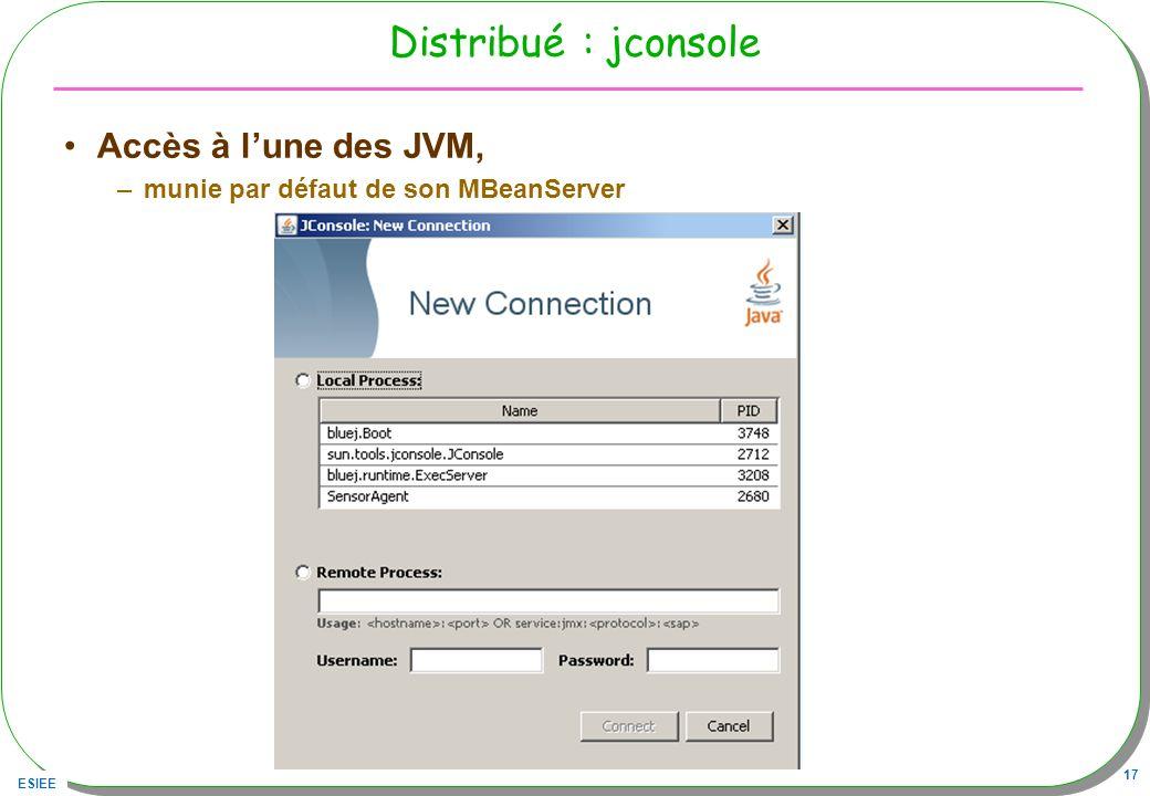 ESIEE 17 Distribué : jconsole Accès à lune des JVM, –munie par défaut de son MBeanServer