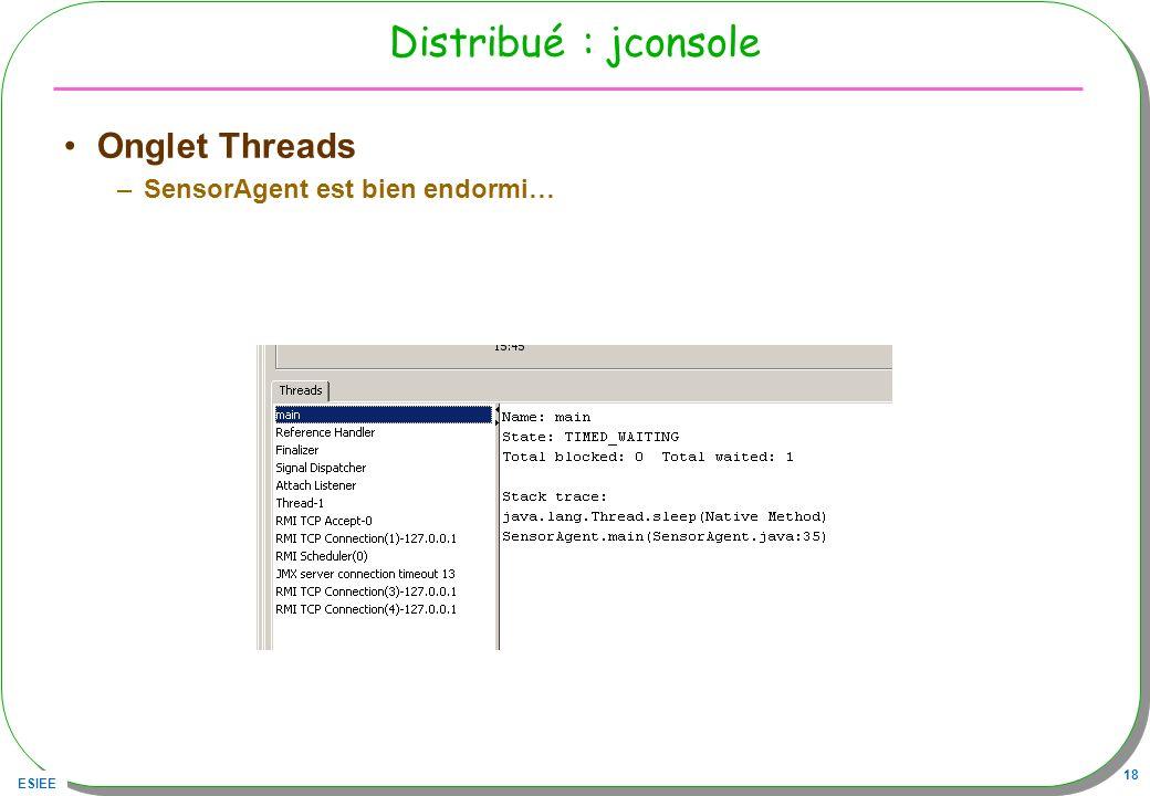 ESIEE 18 Distribué : jconsole Onglet Threads –SensorAgent est bien endormi…