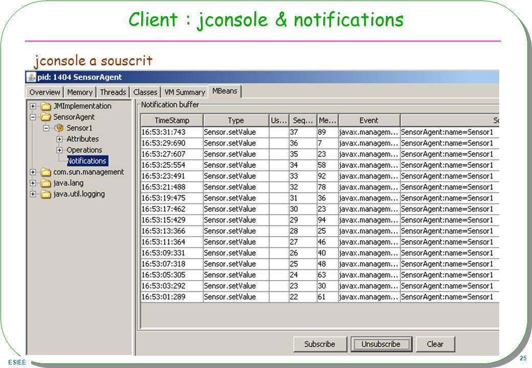 ESIEE 25 Client : jconsole & notifications jconsole a souscrit