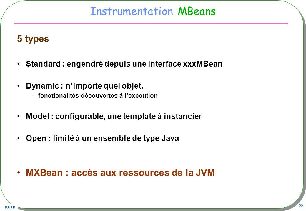 ESIEE 35 Instrumentation MBeans 5 types Standard : engendré depuis une interface xxxMBean Dynamic : nimporte quel objet, –fonctionalités découvertes à lexécution Model : configurable, une template à instancier Open : limité à un ensemble de type Java MXBean : accès aux ressources de la JVM