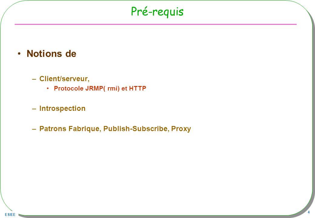 ESIEE 4 Pré-requis Notions de –Client/serveur, Protocole JRMP( rmi) et HTTP –Introspection –Patrons Fabrique, Publish-Subscribe, Proxy