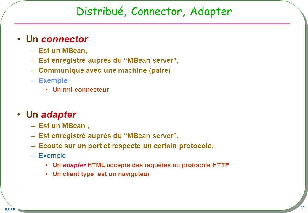 ESIEE 41 Distribué, Connector, Adapter Un connector –Est un MBean, –Est enregistré auprès du MBean server, –Communique avec une machine (paire) –Exemp