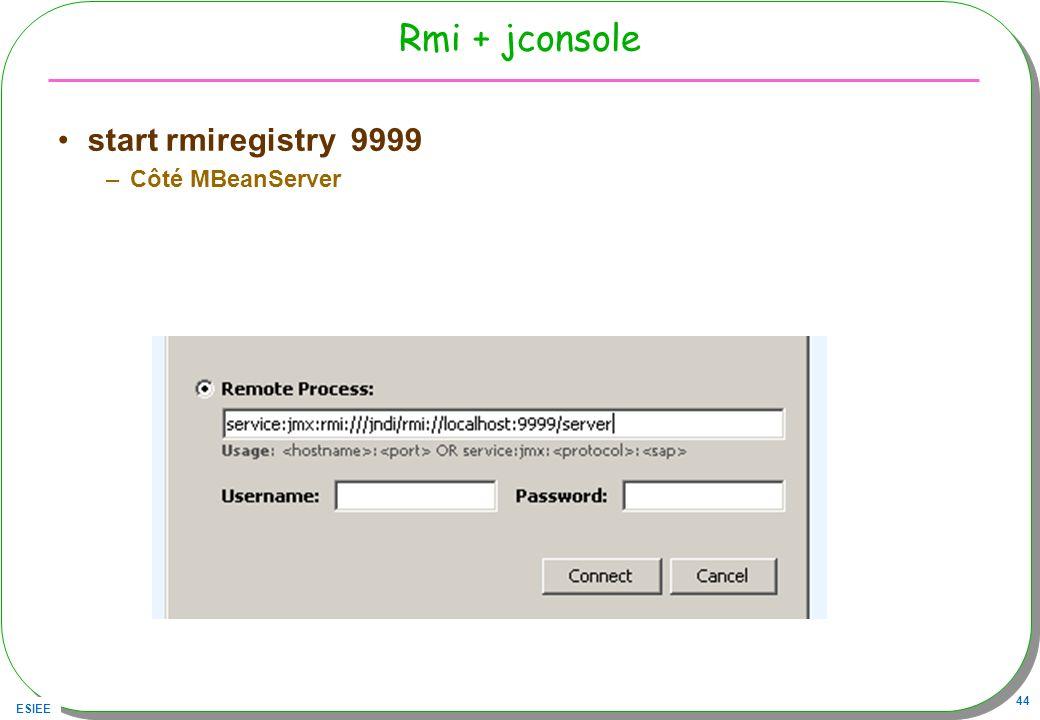 ESIEE 44 Rmi + jconsole start rmiregistry 9999 –Côté MBeanServer