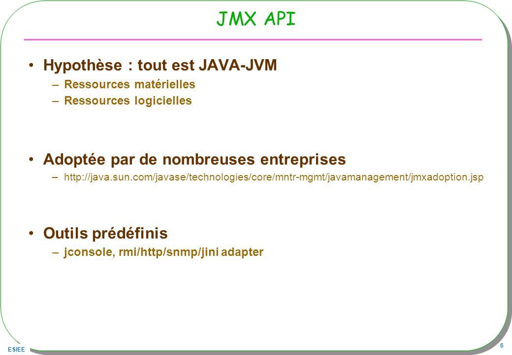 ESIEE 6 JMX API Hypothèse : tout est JAVA-JVM –Ressources matérielles –Ressources logicielles Adoptée par de nombreuses entreprises –http://java.sun.com/javase/technologies/core/mntr-mgmt/javamanagement/jmxadoption.jsp Outils prédéfinis –jconsole, rmi/http/snmp/jini adapter