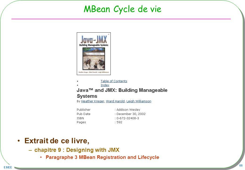 ESIEE 66 MBean Cycle de vie Extrait de ce livre, –chapitre 9 : Designing with JMX Paragraphe 3 MBean Registration and Lifecycle