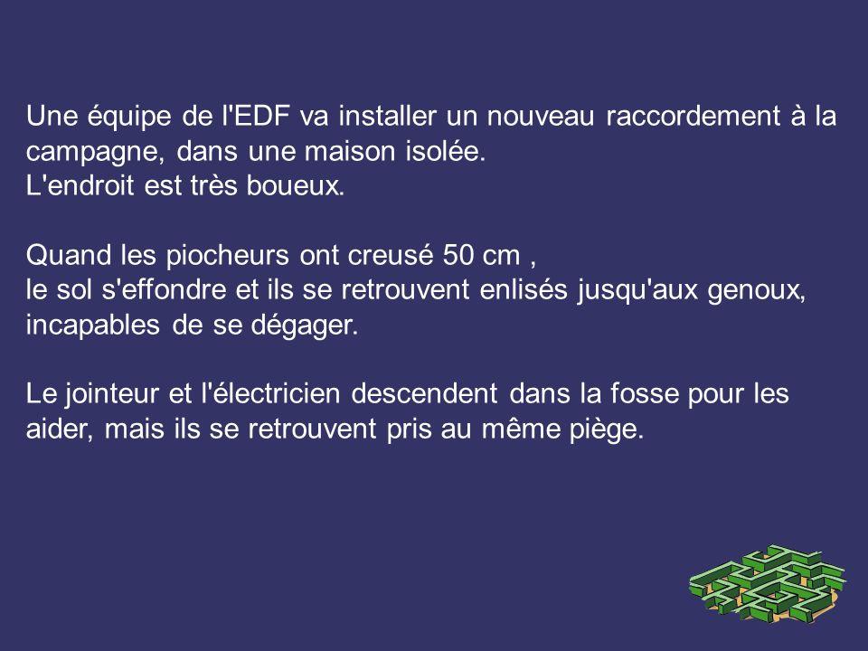 Une équipe de l EDF va installer un nouveau raccordement à la campagne, dans une maison isolée.