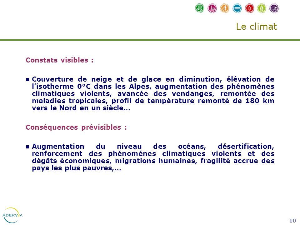 10 Le climat Constats visibles : Couverture de neige et de glace en diminution, élévation de lisotherme 0°C dans les Alpes, augmentation des phénomène