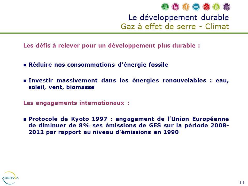 11 Le développement durable Gaz à effet de serre - Climat Les défis à relever pour un développement plus durable : Réduire nos consommations dénergie