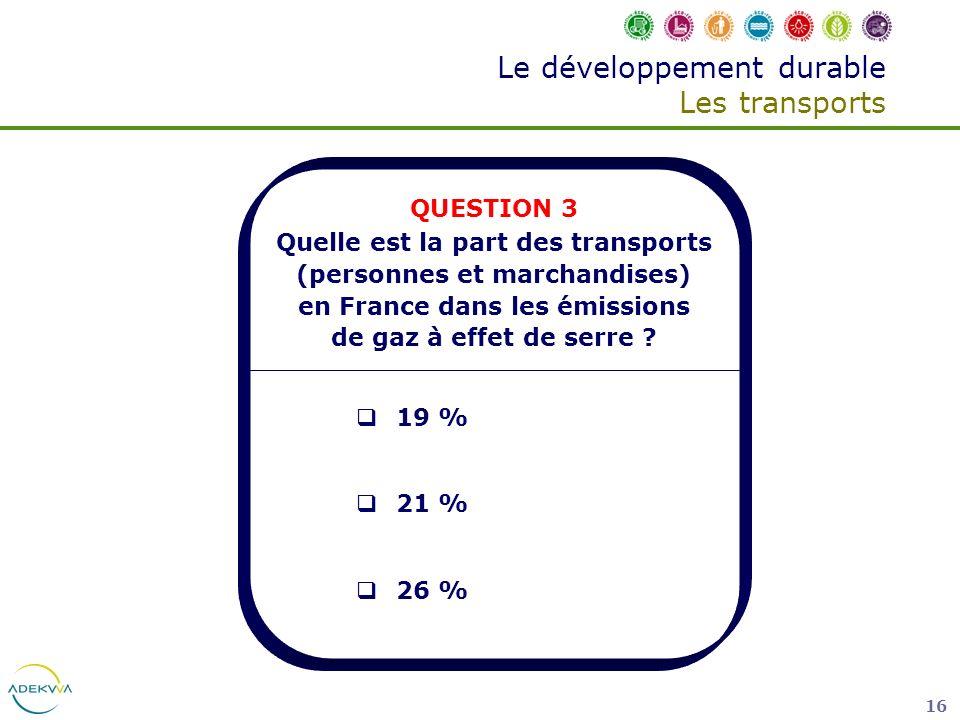 16 Le développement durable Les transports QUESTION 3 Quelle est la part des transports (personnes et marchandises) en France dans les émissions de ga