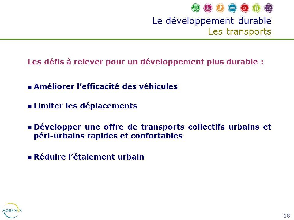 18 Le développement durable Les transports Les défis à relever pour un développement plus durable : Améliorer lefficacité des véhicules Limiter les dé